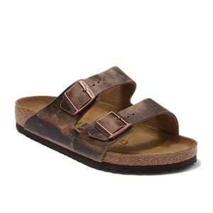 Birkenstock Arizona Oiled Leather Slide Sandals 38